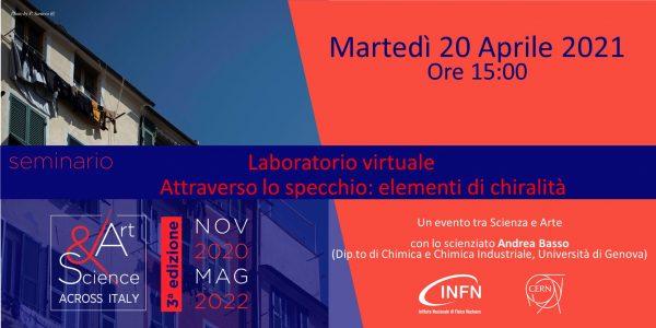 """Tappa di Genova – 20 Aprile 2021 ore 15:00: Seminario/Laboratorio virtuale """"Attraverso lo specchio: elementi di chiralità"""""""